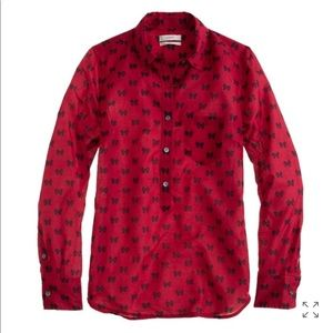 J. Crew Women's size 8 Boy popover in bows Red